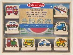 Melissa & Doug- Veicoli Primo Set di Timbri, Multicolore, 12391